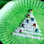 儿童手工制作纸盘穿线圣诞树