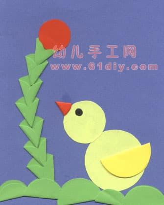 小鸡小鸭拼贴画_精彩贴画_巧巧手幼儿手工网