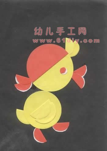 小鸡小鸭拼贴画_精彩贴画_61diy巧巧手幼儿手; 小鸡和小鸭 简笔画小鸡