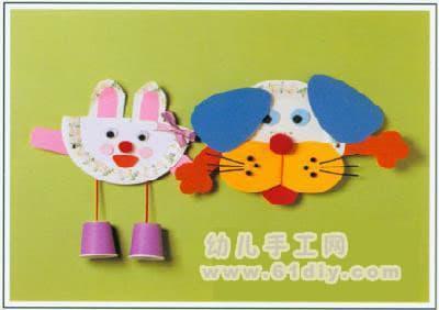 一次性碟子手工制作:小兔小狗