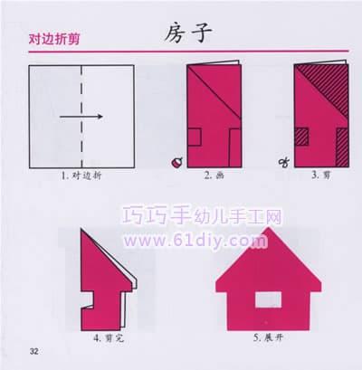 画出房子的形状 3.剪去多余的部分 4.剪完 5.