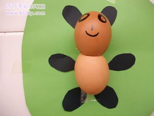 蛋壳制作小熊猫