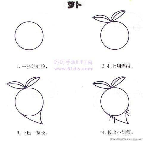 圆萝卜的简笔画