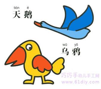 乌鸦和天鹅的简笔画