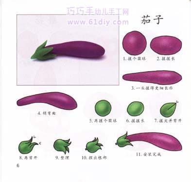 幼儿园手工:橡皮泥制作蔬菜——茄子