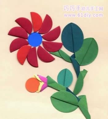 图形纸贴画——漂亮的花朵