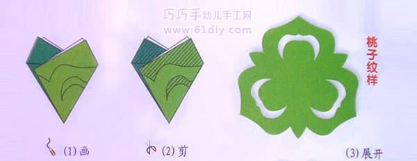 剪纸的折法傹�.���_首页 巧手剪纸  桃子剪纸纹样  点击查看三角折剪的折法 ------分隔线