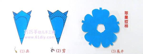 五瓣花剪纸——苹果剪纸纹样(五角折剪)
