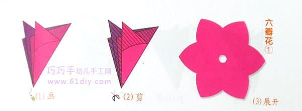 六瓣花纹样剪纸6(六角折剪)
