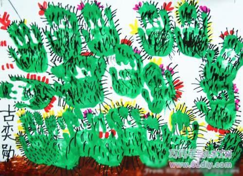 创意手印画——仙人掌