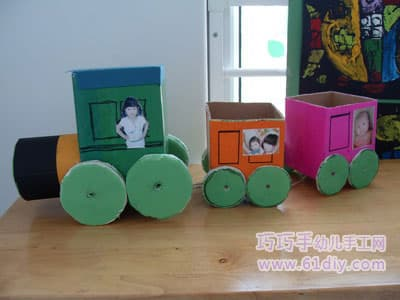 手工纸盒小火车