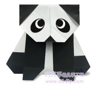 动物折纸图解:蹲着的熊猫_巧巧手幼儿手工网