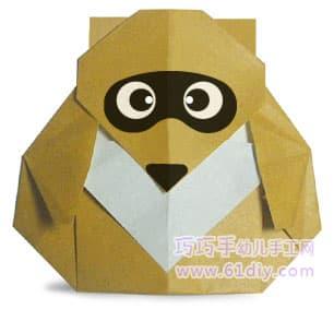 小浣熊折纸图解(动物类)