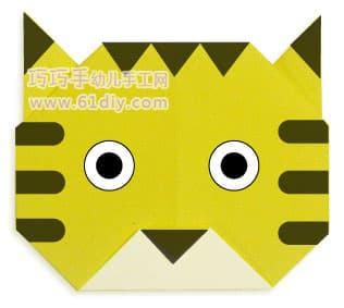 老虎头的折法(动物折纸)