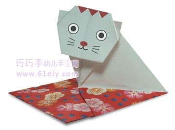 小猫的折法(动物折纸)