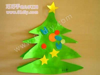 圣诞树贴画_巧巧手幼儿手工网