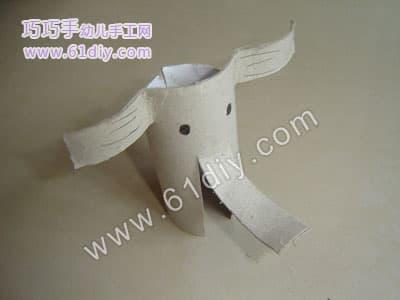 卷纸芯大象制作图解_巧巧手幼儿手工网