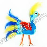 羽毛手印制作有趣动物