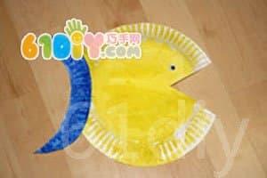 幼儿园青花瓷纸盘画图片_一次性纸盘手工制作鱼图片