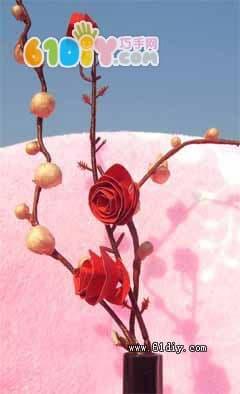 黑卡纸手绘玫瑰