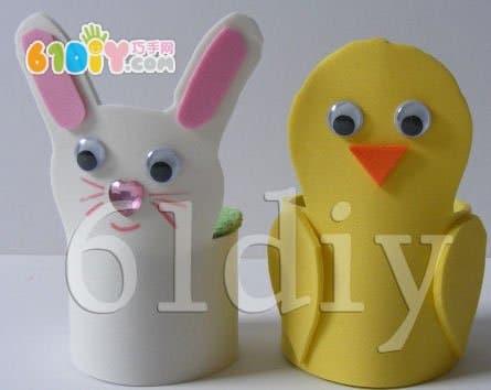 海绵纸兔子贴画