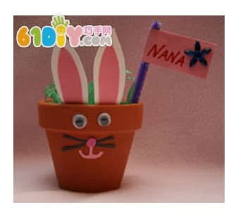 花盆兔子手工制作