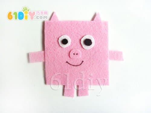 不织布小动物手工 小猪