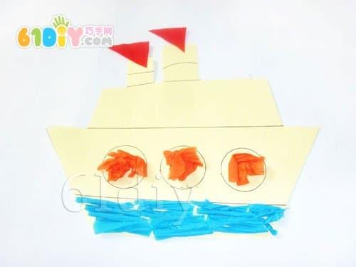 搓纸手工——大轮船_巧巧手幼儿手工网