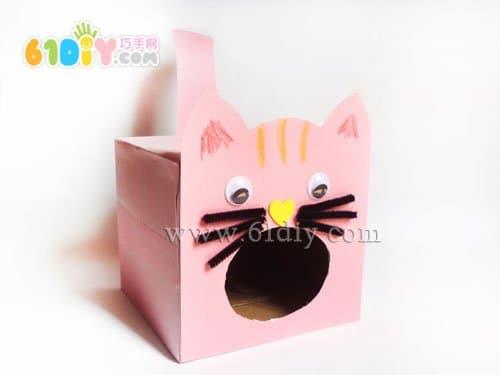 纸盒手工制作小猫吃鱼