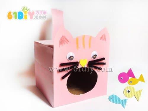 纸盒手工制作小猫吃鱼图片