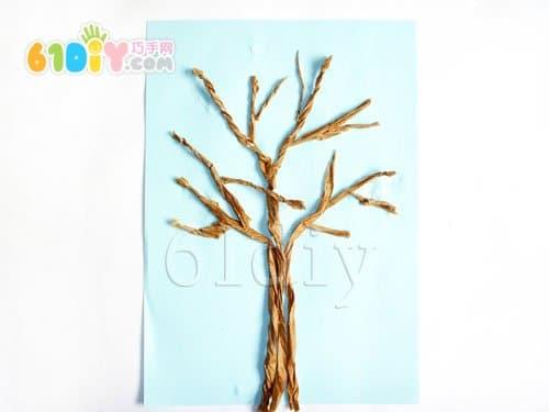 搓纸手工——秋天的树