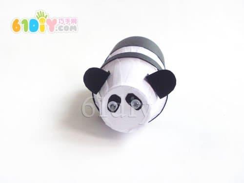 养乐多瓶子制作熊猫_瓶子手工_巧巧手幼儿手工网