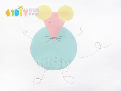 图形拼贴——小老鼠_精彩贴画_巧巧手幼儿手工网