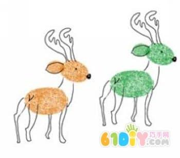 画小鹿; 指印画作品; [转载]涂鸦画画:一些可爱的