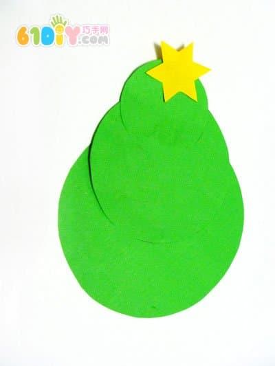 图形拼贴制作圣诞树_精彩贴画_巧巧手幼儿手工网