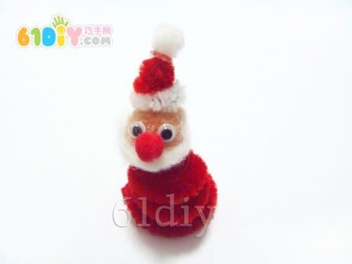 毛根手工制作立体的圣诞老人