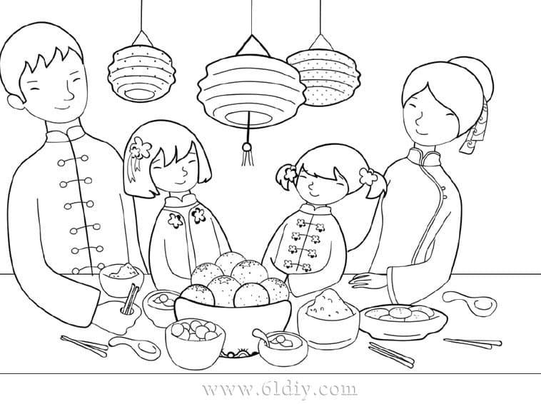 新年填色图——吃年夜饭