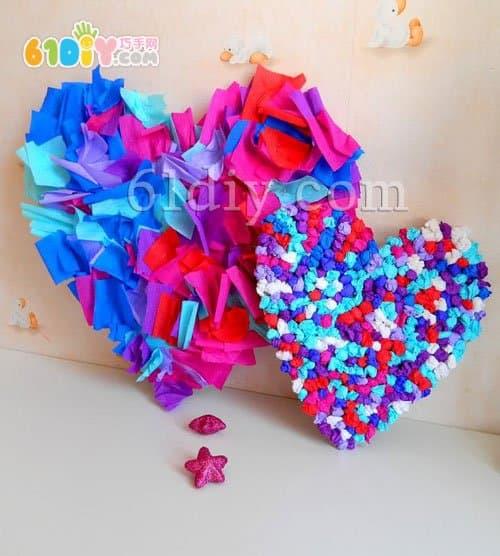 幼儿园三八节手工礼物——皱纹纸爱心