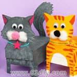 动物手工——废纸盒diy卡哇伊小猫. 星星纸盒折法.图片