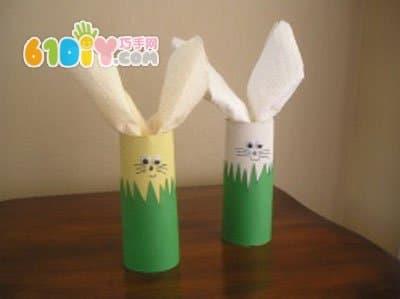 儿童手工diy卷纸筒小兔子