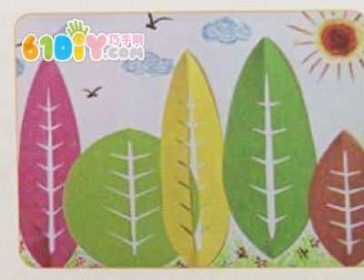 儿童剪纸手工:树叶剪纸贴画