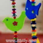儿童手工制作不织布小鸟和小鱼挂饰   卡通小鸟手工贴画高清图片