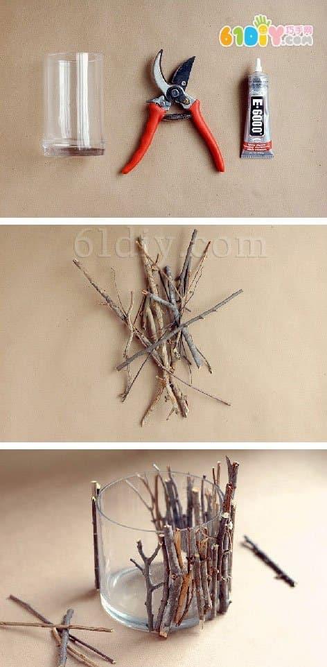 小树枝废物利用手工