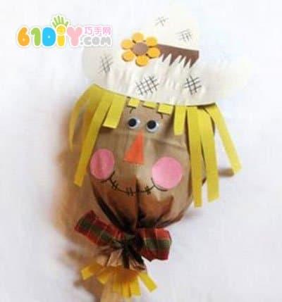 纸袋手工     手工材料: 小牛皮 纸袋, 丝带,彩纸, 雪糕棒,胶水,动物