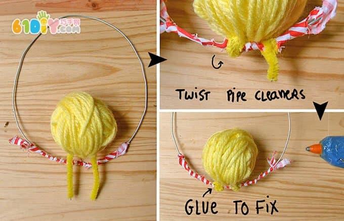 手工制作可爱的毛线球小鸟挂饰