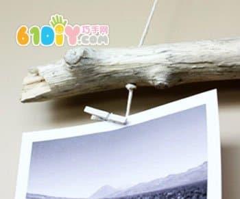 树枝手工制作照片挂饰