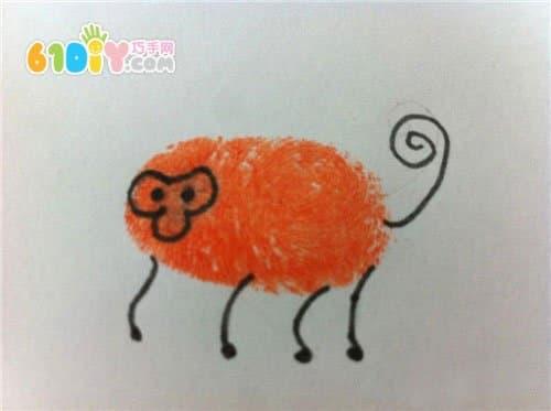 创意动物指印画_手印画