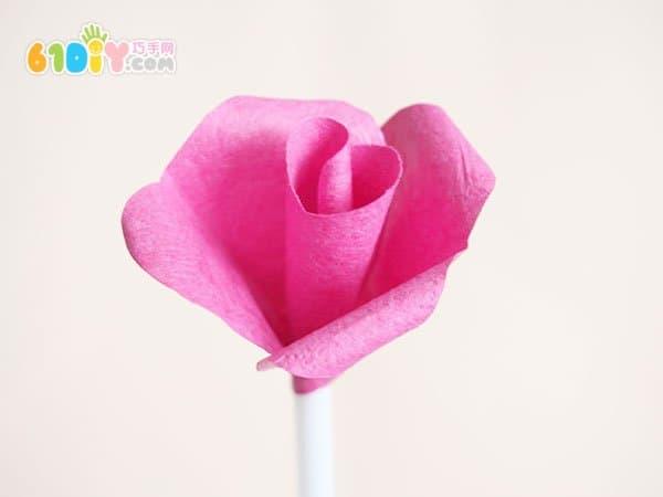简单的手工玫瑰花制作图解