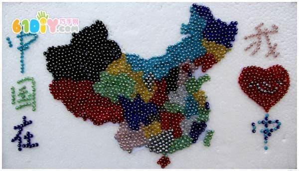 中国地图豆贴画_综合其它_巧巧手幼儿手工网
