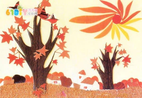 几款秋天的树主题墙_秋天_巧巧手幼儿手工网